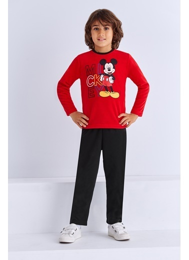 Mickey Mouse Mickey & Minnie Mouse Lisanslı Erkek Çocuk Pijama Takımı Saks Kırmızı
